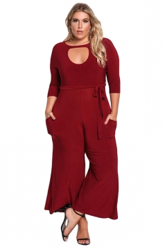 Womens Plus Size Cut Out Wide Leg Waist Tie Plain Jumpsuit Ruby