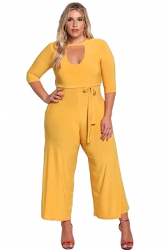 Womens Plus Size Cut Out Wide Leg Waist Tie Plain Jumpsuit Yellow