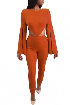 Womens Sexy Bell Sleeve Backless Zipper Crew Neck Jumpsuit Orange
