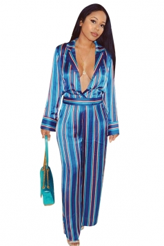 Womens Sexy Deep V-Neck Turndown Collar Wide Leg Striped Jumpsuit Blue