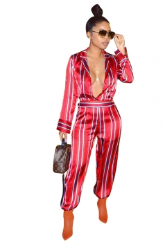 Womens Sexy Deep V-Neck Turndown Collar Wide Leg Striped Jumpsuit Red
