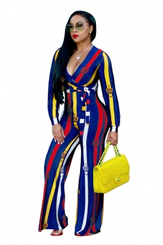 Womens Sexy High Waisted V-Neck Long Sleeve Striped Jumpsuit Yellow