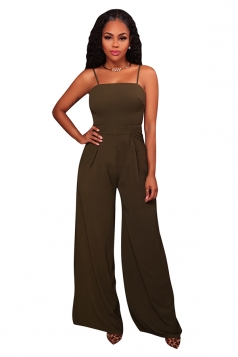 Womens Sexy Spaghetti Straps High Waisted Wide Leg Jumpsuit Army Green