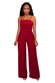 Womens Sexy Spaghetti Straps High Waisted Wide Leg Plain Jumpsuit Red