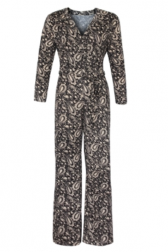 Womens Sexy V-Neck High Waisted Wide Leg Printed Jumpsuit Black