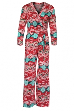 Womens Sexy V-Neck High Waisted Wide Leg Printed Jumpsuit Red