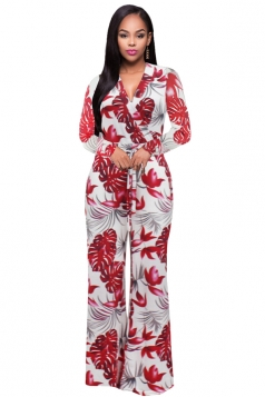 Womens Sexy V-Neck High Waisted Wide Leg Printed Jumpsuit White