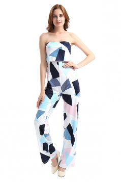 Womens Off Shoulder High Waisted Printed Jumpsuit Light Blue