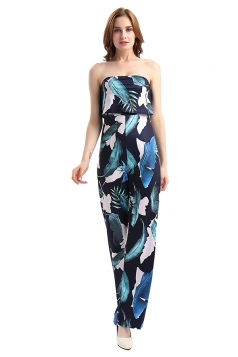Womens Off Shoulder Sleeveless High Waisted Printed Jumpsuit Navy Blue