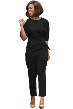 Womens Cold Shoulder Backless Waist Tie Midi Sleeve Jumpsuit Black