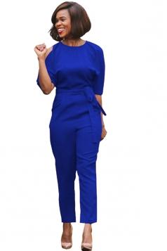 Womens Cold Shoulder Waist Tie Midi Sleeve Jumpsuit Sapphire Blue