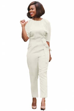 Womens Cold Shoulder Backless Waist Tie Midi Sleeve Jumpsuit White