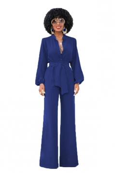 V-Neck Tailored Long Sleeve Bandage Waist Wide Legs Bell Jumpsuit Blue