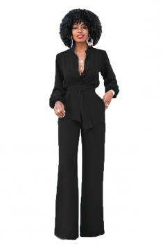 Womens Tailored V-Neck Bandage Waist Wide Legs Bell Jumpsuit Black