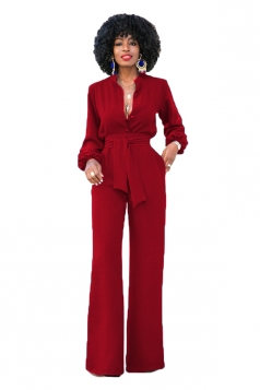 Womens Sexy Tailored V-Neck Bandage Waist Wide Legs Bell Jumpsuit Red