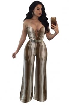 Womens Sexy Deep V-Neck Off Shoulder Wide Legs Stripe Jumpsuit Coffee