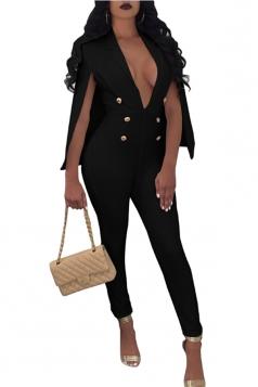 Womens Sexy Deep V-Neck Button Open Sleeve High Waisted Jumpsuit Black
