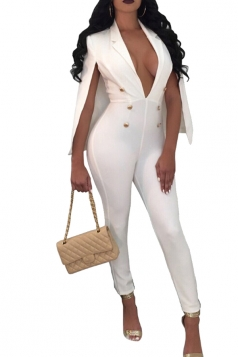 Womens Sexy Deep V-Neck Button Open Sleeve High Waisted Jumpsuit White