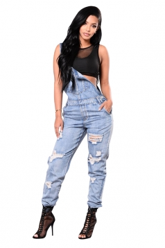 Womens Trendy Strap Cut Out Pocket Overalls Plain Jumpsuit Blue