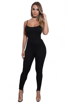Womens Sexy Spaghetti Strap High Waisted Striped Jumpsuit Black
