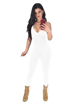 Womens Sexy Spaghetti Strap V-Neck Lace Up Backless Jumpsuit White