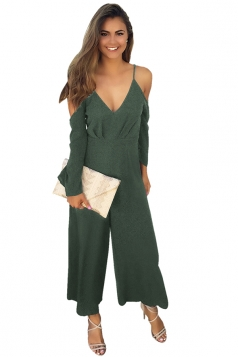 Womens Sexy Cold Shoulder Spaghetti Strap Wide Leg Jumpsuit Army Green
