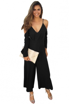 Womens Sexy Cold Shoulder Spaghetti Strap Wide Leg Jumpsuit Black