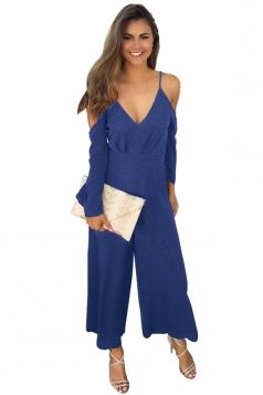 Womens Cold Shoulder Spaghetti Strap Wide Leg Jumpsuit Sapphire Blue