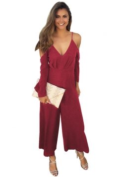 Womens Sexy Cold Shoulder Spaghetti Strap Wide Leg Jumpsuit Ruby