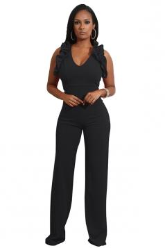 Womens Sexy V-Neck Ruffle Sleeveless Wide Leg Plain Jumpsuit Black