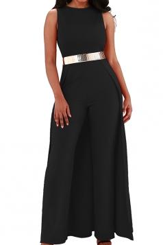 Womens Elegant Overlay High Waisted Split Wide Leg Jumpsuit Black