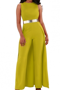 Womens Elegant Overlay High Waisted Split Wide Leg Jumpsuit Yellow