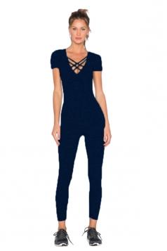 Womens Close-Fitting Cut Out V-Neck Short Sleeve Plain Jumpsuit Black