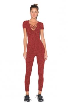 Womens Close-Fitting Cut Out V-Neck Short Sleeve Plain Jumpsuit Purple