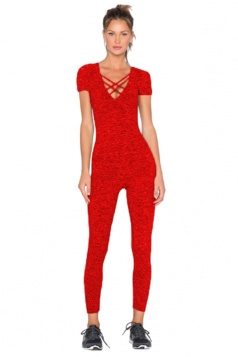 Womens Close-Fitting Cut Out V-Neck Short Sleeve Plain Jumpsuit Red