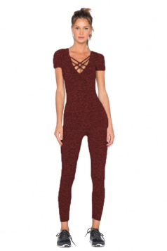 Womens Close-Fitting Cut Out V-Neck Short Sleeve Plain Jumpsuit Ruby