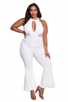 Womens Sexy Halter Cut Out Mesh Flared Plain Plus Size Jumpsuit White
