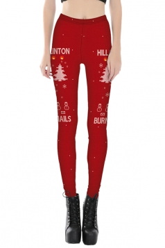 Womens Elastic Snowman Christmas Tree Printed Leggings Orange Red