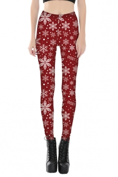 Womens Skinny Ankle Length Snowflake Printed Christmas Leggings Ruby