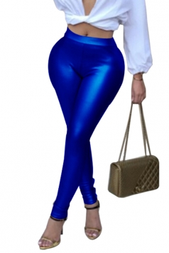 Womens Sexy Skinny Elastic High Waisted Plain Liquid Leggings Blue