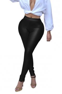 Womens Sexy Skinny Elastic High Waisted Plain Liquid Leggings Black
