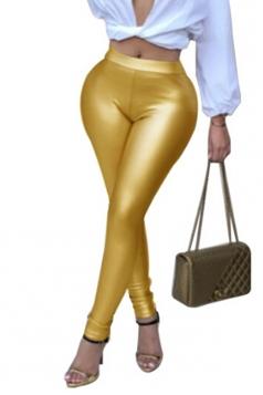Womens Sexy Skinny Elastic High Waisted Plain Liquid Leggings Gold