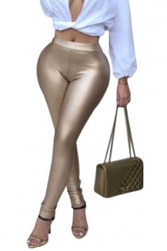 Womens Sexy Skinny Elastic High Waisted Plain Liquid Leggings Khaki