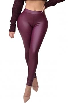 Womens Sexy Skinny Elastic High Waisted Plain Liquid Leggings Purple