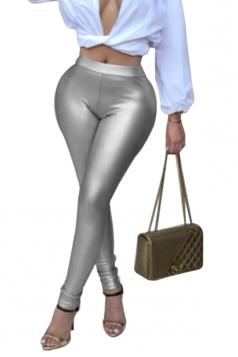 Womens Sexy Skinny Elastic High Waisted Plain Liquid Leggings Silver