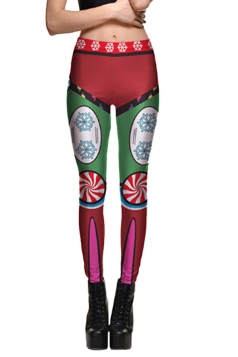 Womens Stretchy Skinny Snowflake Printed Christmas Leggings Dark Red