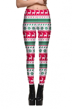 Womens Elastic Reindeer Snowflake Printed Christmas Leggings Rose Red