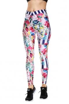 Womens Elastic Skinny High Waist Floral Printed Leggings Apricot