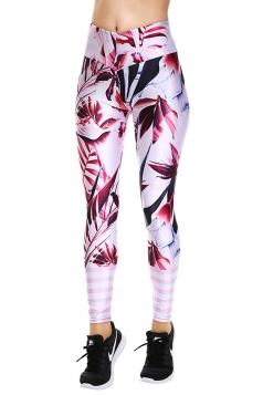 Womens Elastic Skinny High Waist Sports Floral Printed Leggings Pink
