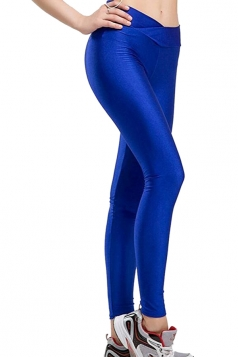 Womens Tights Stretch Skinny Ankle Length Shiny Sports Leggings Blue